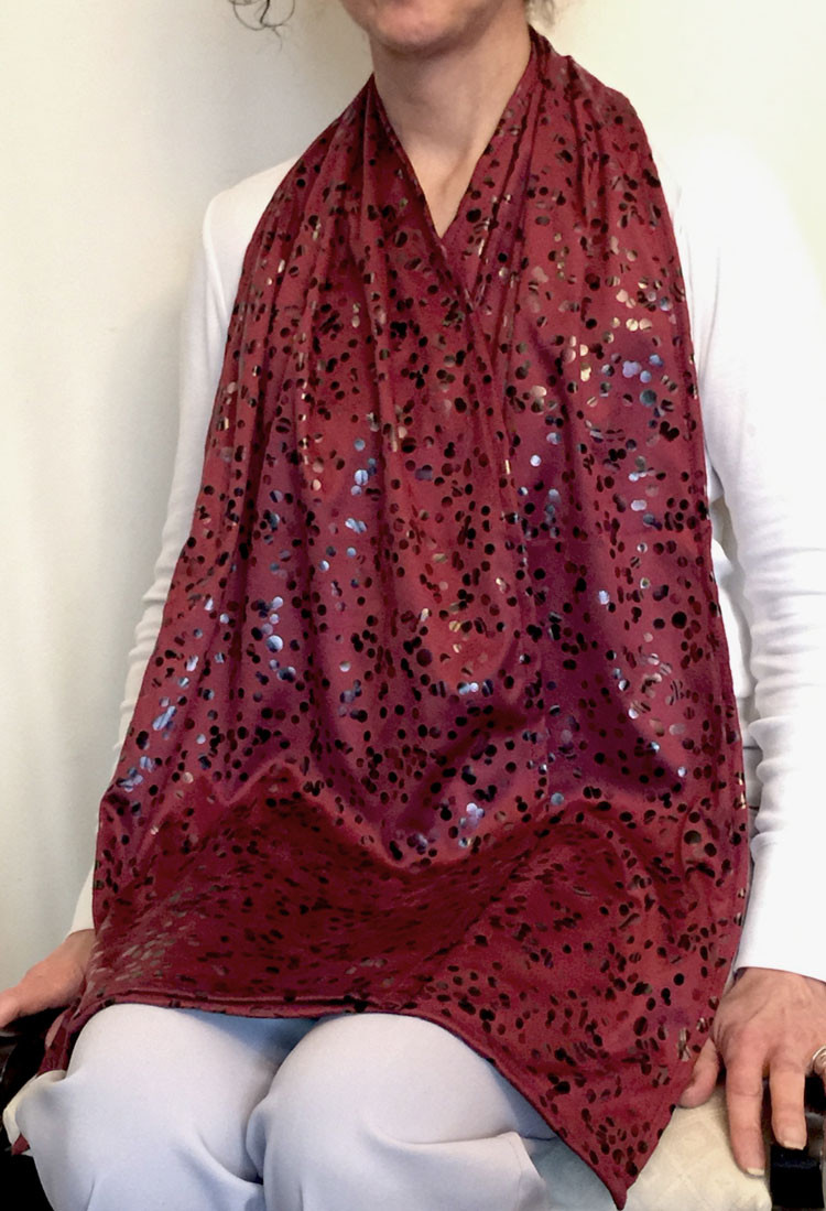Cravaat XXL Burgundy Dot dining scarf adult bib