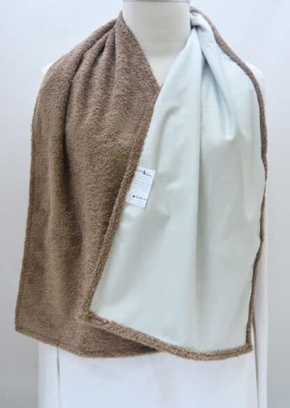 Cravaat Wide Dining Scarf Adult Bib in Taupe Terry Waterproof-backside