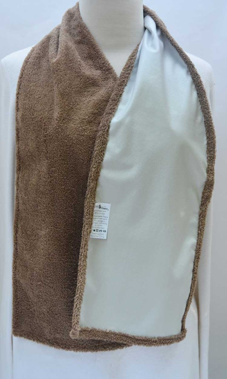 Cravaat Dining Scarf Adult Bib in Terry Taupe Waterproof showing backside of fabric